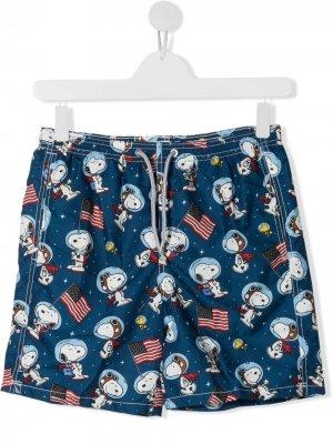 Плавки с узором Snoopy Mc2 Saint Barth Kids. Цвет: синий