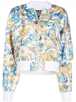 Бомбер с узором Baroque Versace Jeans Couture. Цвет: белый