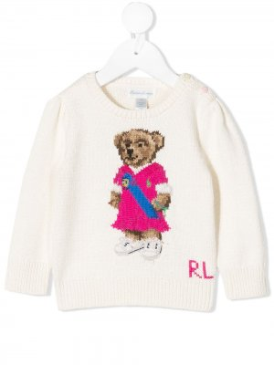 Трикотажный джемпер Polo Bear Ralph Lauren Kids. Цвет: avorio