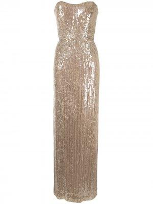 Платье макси без бретелей с пайетками Jenny Packham. Цвет: нейтральные цвета