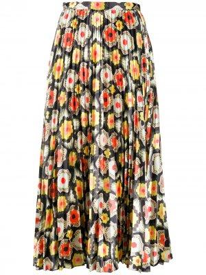 Плиссированная блузка с принтом Temperley London. Цвет: черный