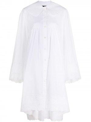 Платье-рубашка с вышивкой Simone Rocha. Цвет: белый