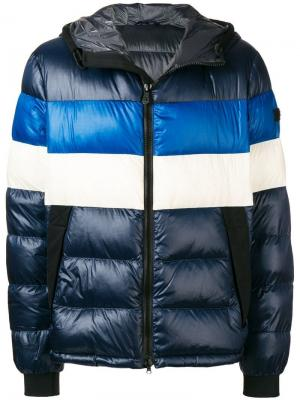 Пуховая куртка дизайна колор-блок Peuterey. Цвет: синий