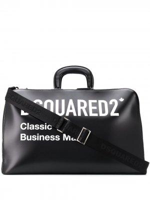Дорожная сумка с логотипом Dsquared2. Цвет: черный
