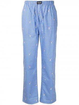 Пижамные брюки в полоску с вышивкой Polo Ralph Lauren. Цвет: синий