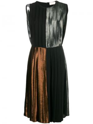 Платье в складку с отделкой ламе Christopher Kane. Цвет: металлик