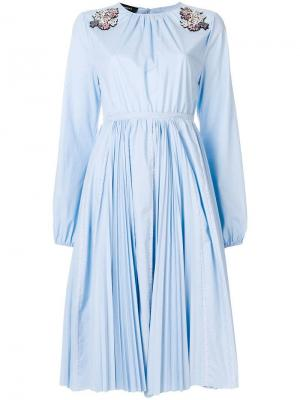 Плиссированное платье с пайетками Rochas. Цвет: синий