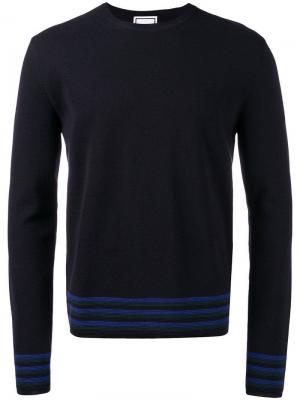 Stripe trim sweater Wooyoungmi. Цвет: синий