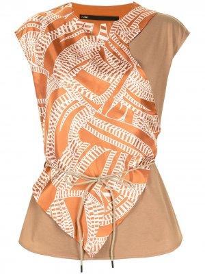 Блузка Engrave без рукавов Muller Of Yoshiokubo. Цвет: коричневый