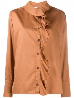 Блузка с оборками Barena. Цвет: коричневый