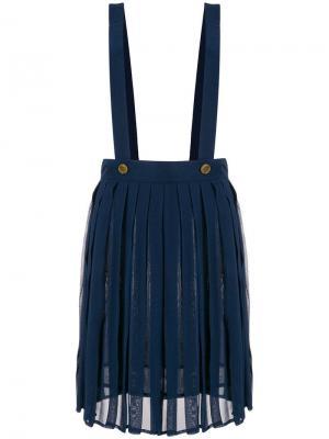 Юбка с подтяжками Moschino Vintage. Цвет: синий