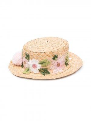 Шляпа с цветочной вышивкой Piccola Ludo. Цвет: нейтральные цвета