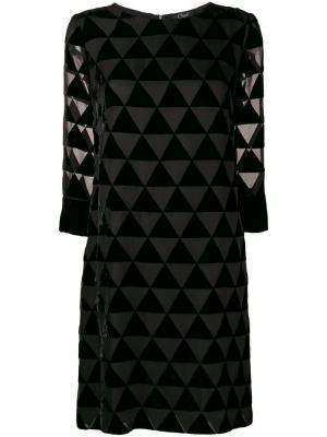 Платье с прозрачными треугольными вставками Clips. Цвет: черный