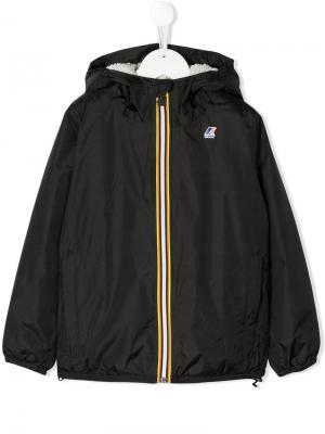 Куртка на молнии с капюшоном K Way Kids. Цвет: черный