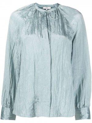 Блузка с завязками и жатым эффектом Vince. Цвет: синий