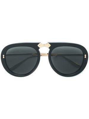 Солнцезащитные очки в круглой оправе Gucci Eyewear. Цвет: черный
