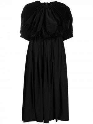 Расклешенное платье миди с короткими рукавами Comme Des Garçons. Цвет: черный