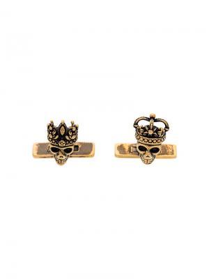 Запонки с деталью в форме черепа Queen & King Alexander McQueen. Цвет: металлик