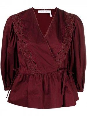 Блузка с английской вышивкой и запахом See by Chloé. Цвет: красный