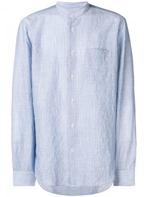 Рубашка в полоску с воротником-мандарин Mauro Grifoni. Цвет: синий
