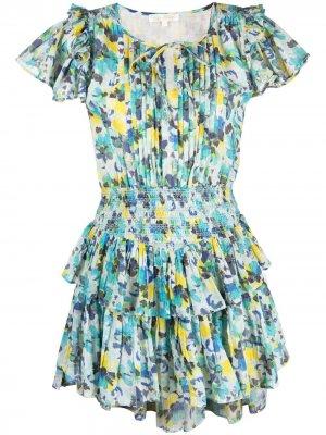Платье с оборками и абстрактным принтом LoveShackFancy. Цвет: синий