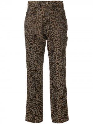 Брюки прямого кроя с леопардовым принтом Fendi Pre-Owned. Цвет: коричневый