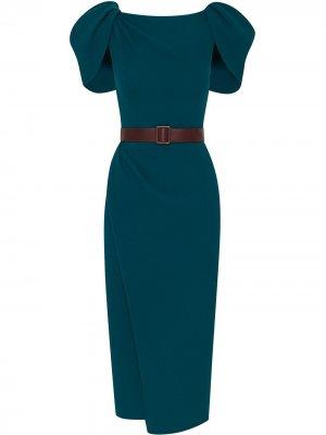 Платье с драпировкой и поясом Oscar de la Renta. Цвет: синий