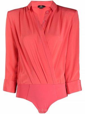 Рубашка-боди с драпировкой Elisabetta Franchi. Цвет: красный