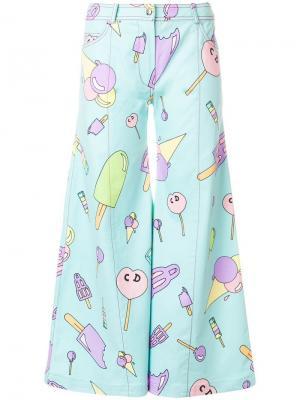 Расклешенные брюки с принтом pre-owned Christian Dior. Цвет: синий
