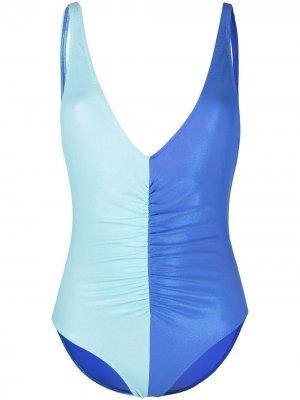 Двухцветный купальник Solid & Striped. Цвет: синий