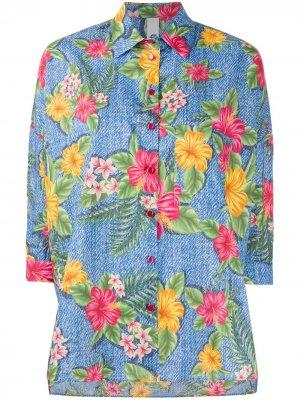 Рубашка с укороченными рукавами и принтом Hawaii Ultràchic. Цвет: синий