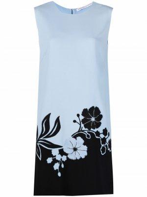 Платье-трапеция с цветочной вышивкой Ermanno Scervino. Цвет: синий