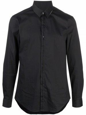 Рубашка с длинными рукавами и логотипом Les Hommes. Цвет: черный