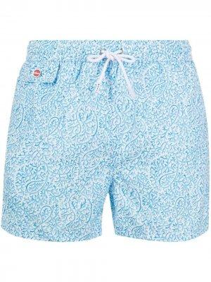 Плавки-шорты с принтом пейсли Kiton. Цвет: синий