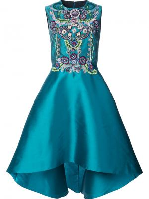 Асимметричное декорированное платье Marchesa Notte. Цвет: синий