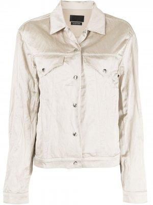 Куртка с эффектом металлик RtA. Цвет: золотистый
