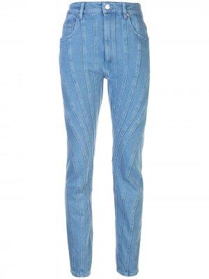 Зауженные джинсы со вставками Mugler. Цвет: синий