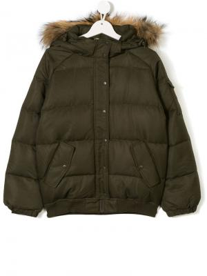 Пуховое пальто с капюшоном Pyrenex Kids. Цвет: зеленый
