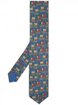 Галстук 2000-х годов с принтом Hermès. Цвет: синий