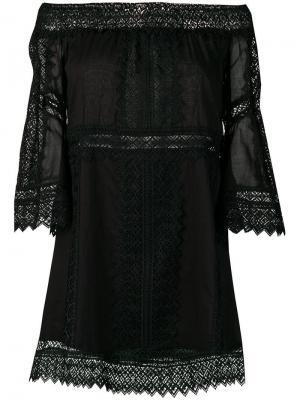 Короткое платье с открытыми плечами Charo Ruiz. Цвет: черный