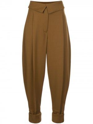 Зауженные брюки со складками Proenza Schouler. Цвет: коричневый