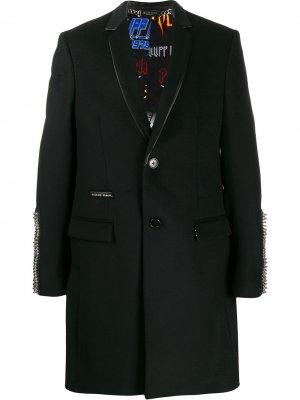 Однобортное пальто с заклепками Philipp Plein. Цвет: черный
