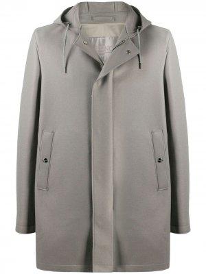 Однобортное пальто с капюшоном Herno. Цвет: серый