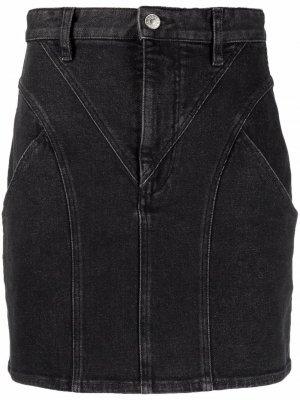 Джинсовая юбка мини со вставками Isabel Marant. Цвет: черный