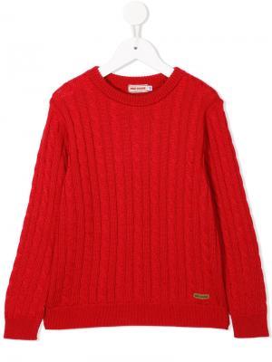 Вязаный свитер с круглым вырезом Miki House. Цвет: красный