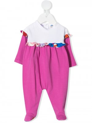 Комплект из пижамы и нагрудника с шапкой Emilio Pucci Junior. Цвет: розовый