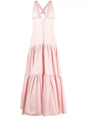 Ярусное платье-рубашка с V-образным вырезом Maria Lucia Hohan. Цвет: розовый