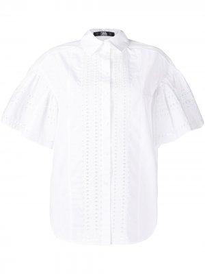 Поплиновая рубашка с вышивкой Karl Lagerfeld. Цвет: белый