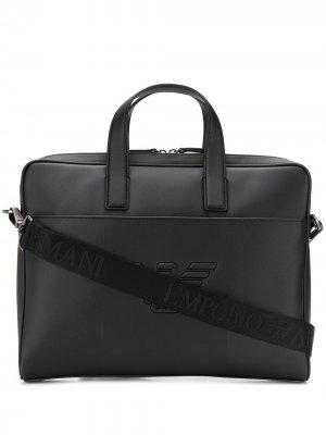 Сумка для ноутбука с тисненым логотипом Emporio Armani. Цвет: черный