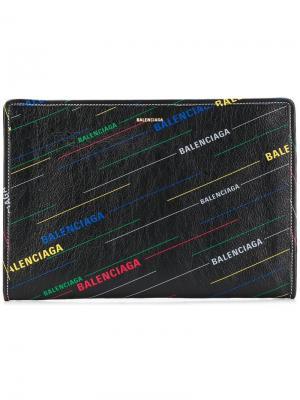 Bazar printed pouch Balenciaga. Цвет: черный